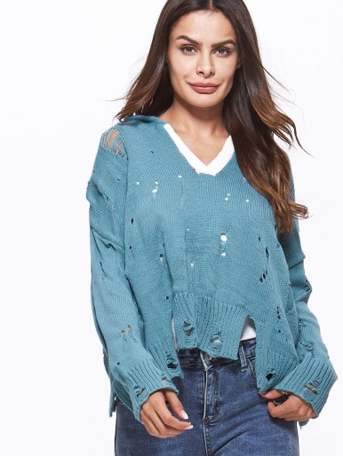 OneBling Distressed Jumper with Hooded