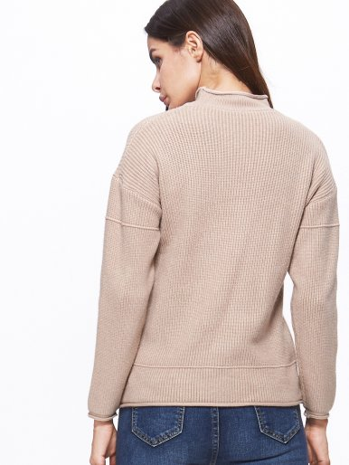 OneBling Rolled Up Detail Patch Pocket Drop Shoulder Jumper