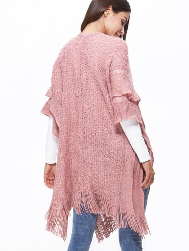 OneBling Cable Knit Poncho Cape with Double Layer and Tassels Hem
