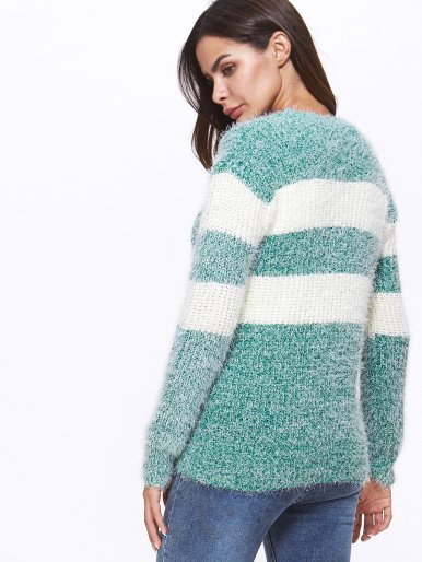 OneBling Fluffy Jumper In Striped