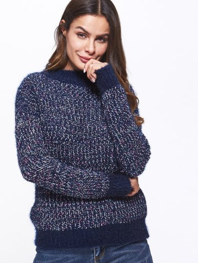 OneBling Mock Neck Contrast Trim Space Dye Jumper