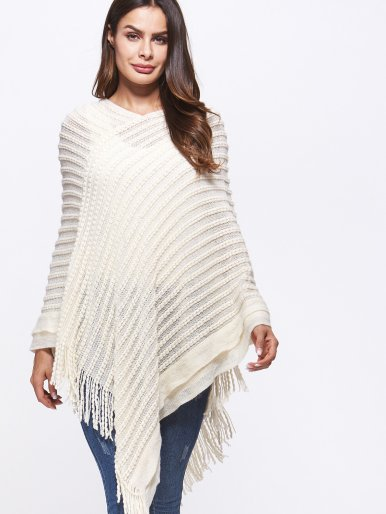 OneBling Asymmetric Hem Tassels Detail Textured Striped Poncho Top
