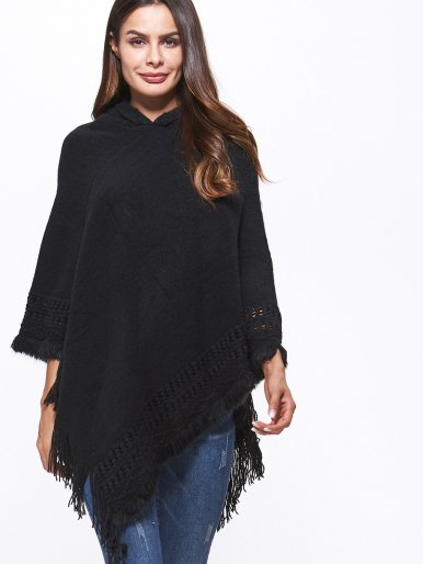 OneBling Cable Knit Tassels Trim Hooded Poncho Cape