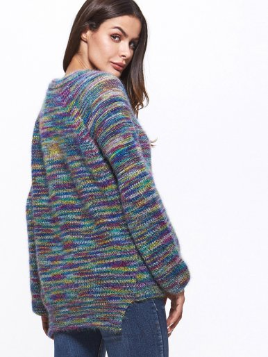 OneBling Raglan Sleeve Space Dye High Low Jumper