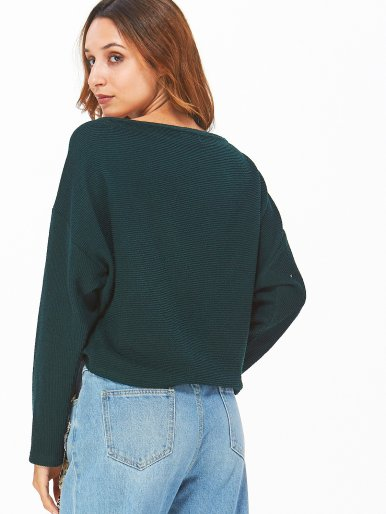 OneBling Dropped Shoulder Slash Neck Jumper