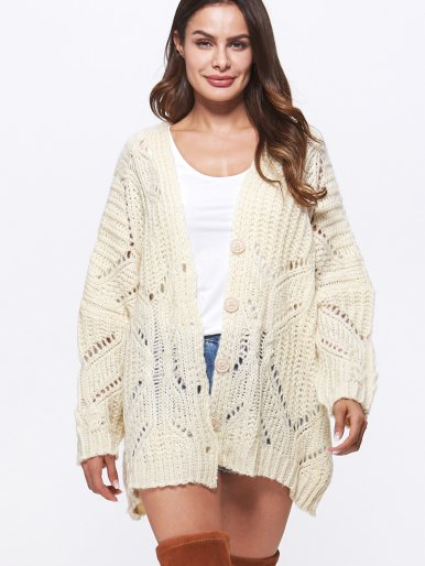 OneBling Open Knit Batwing Sleeve Button Front Cardigan