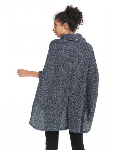 OneBling High Low Hem Space Dye Poncho Jumper