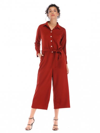OneBling Button Front Cropped Jumpsuits with Wide Leg and Belt