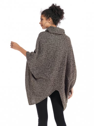OneBling High Neck Knit Poncho Jumper In Space Dye Yarn