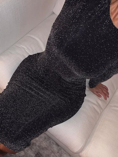 OneBling Crew Neck Long Sleeve Glitter Knit Midi Dress