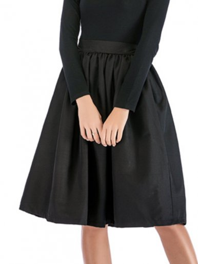 OneBling High Waist Midi Skirt with Pockets and Pleat Detail