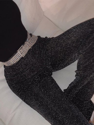 OneBling Glitter High Waist Straight Pants
