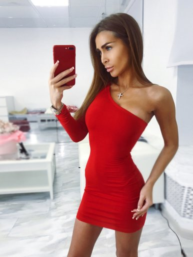 OneBling One Shoulder Bodycon Mini Dress