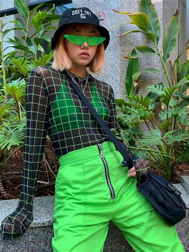 Sheer Mesh Green Check T-Shirt
