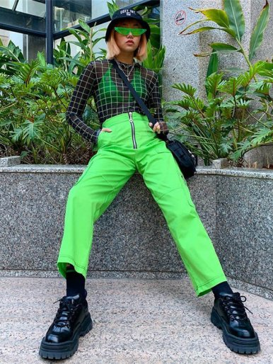OneBling Sheer Mesh Green Check T-Shirt