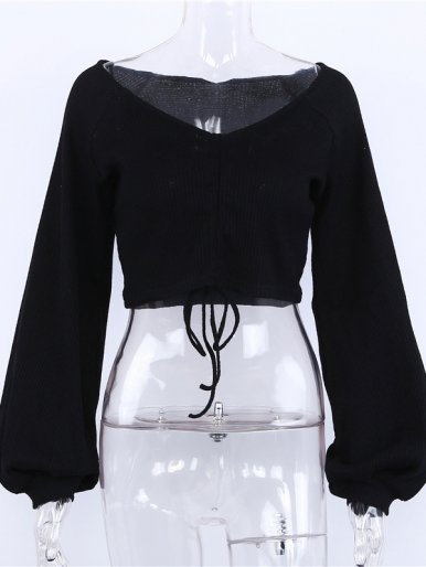 Drawstring Design Balloon Sleeve Crop Tops