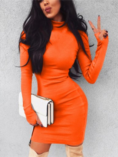 OneBling High Neck Finger Hole Detail Bodycon Mini Dress