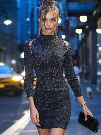 OneBling Eyelet Lace Up Detail Glitter Knit Bodycon Mini Dress