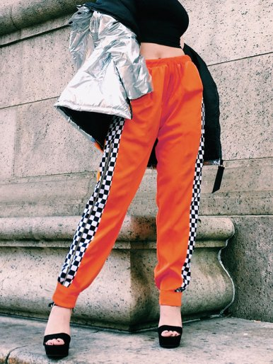 OneBling Check Side Zipper Detail Joggers In Orange