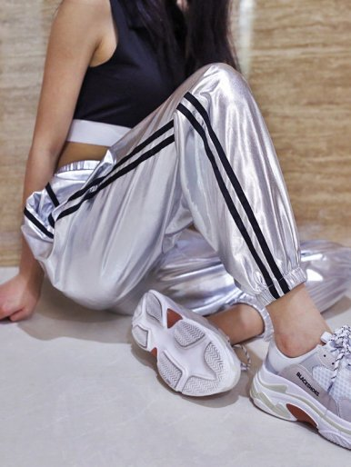 OneBling Metallic Sliver Joggers with Side Stripe