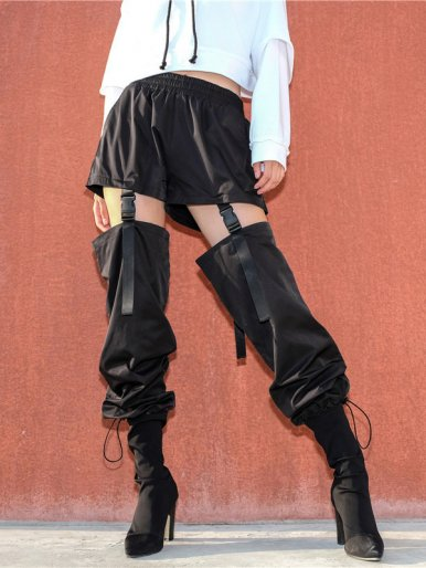 OneBling Drawstring Foot Mouth Trousers with Detachable Suspender