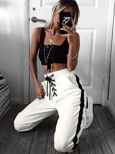 OneBling Eyelet Lace Up Track Pants with Side Stripe