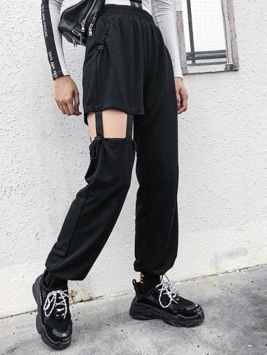 OneBling Drawstring Design Joggers with Suspender Detail