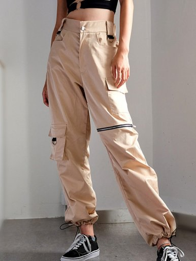 OneBling Drawstring Foot Mouth Cargo Pants with Zipper and Pocket