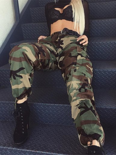 OneBling Tie Foot Mouth Camo Cargo Pant