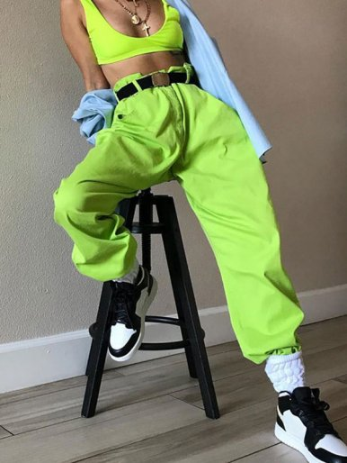 Drawstring Foot Mouth Trousers In Bright Green