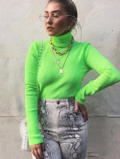 OneBling Bright Color High Neck Rib Knit Jumper