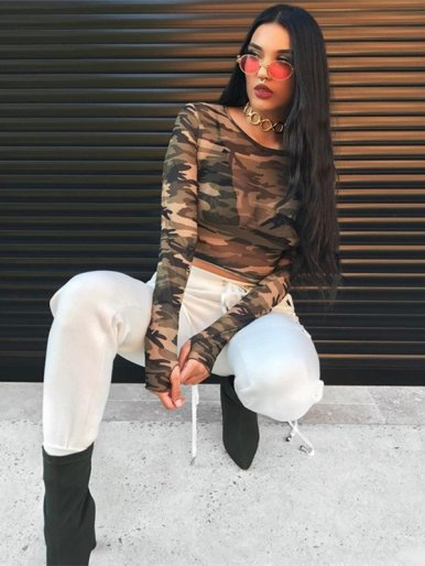 OneBling Long Sleeve Sheer Mesh Camo Crop T-Shirt