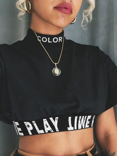OneBling Mock Neck Crop T-Shirt with Logo Tape