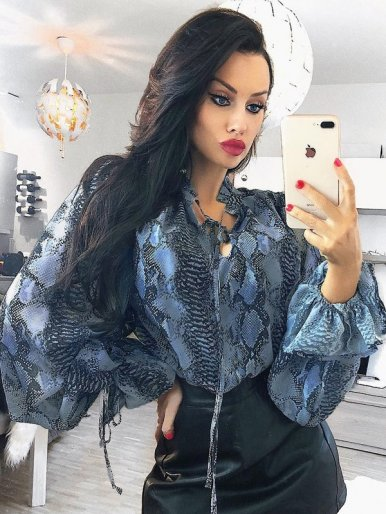 OneBling Balloon Sleeve Loose Chiffon Blouses In Snake