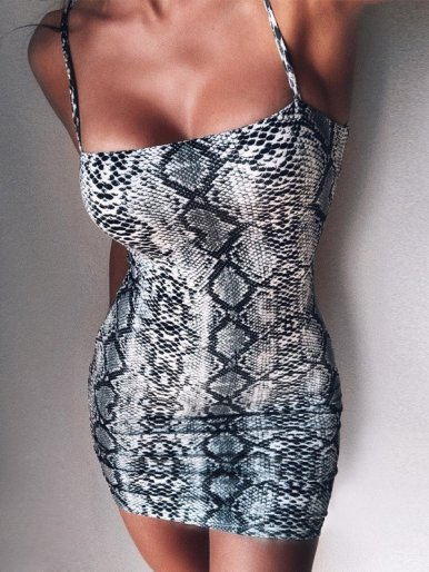 OneBling Animal Skin Print Bodycon Mini Dress