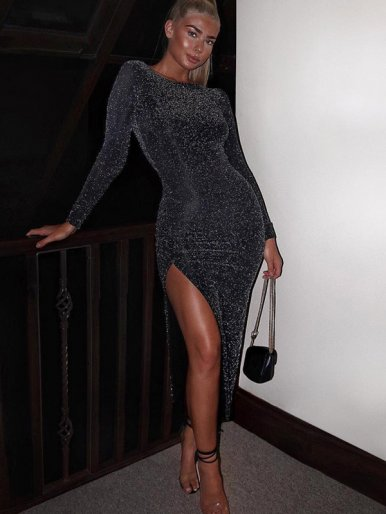 Long Sleeve Glitter Midi Dress with High Split