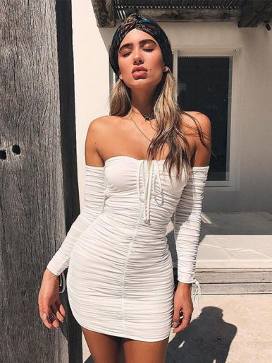 OneBling Off Shoulder Ruched Mini Dress with Tie Detail