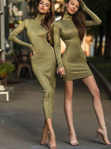 OneBling Long Sleeve Turtle Neck Metallic Dress