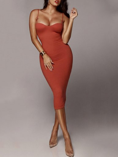 Bodycon Midi Dress with Adjust Straps