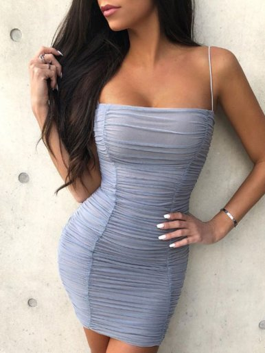 OneBling Mesh Overlay Ruched Bodycon Dress with Adjust Straps