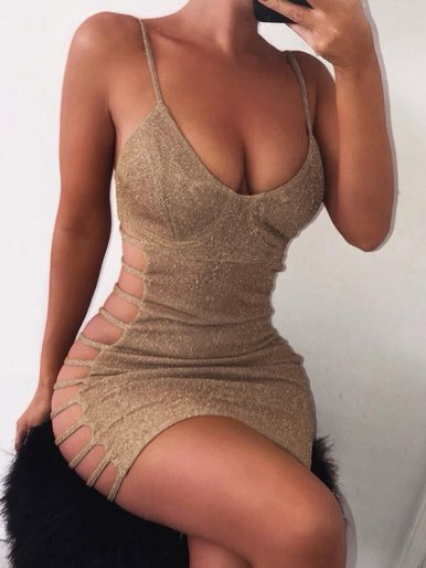 OneBling Bustier Metallic Mini Dress with Side Ladder Cut