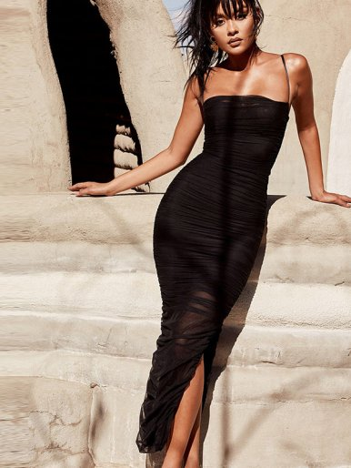 Mesh Ruched Midi Dress with Side Split