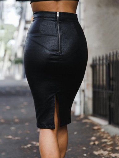 OneBling Zipper Back High Waist PU Pencil Skirt