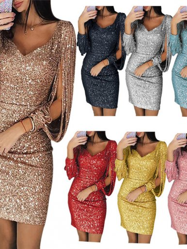 OneBling Glitter Mini Dress with Exaggerate Sleeve