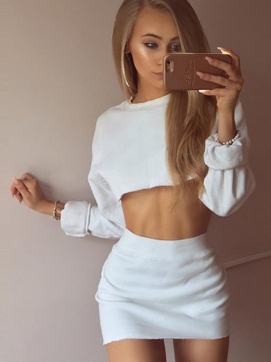 OneBling Raw Hem Crop Tops and Mini Skirt Set