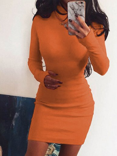 OneBling Bright Color Bodycon Mini Dress with Finger Hole Sleeve