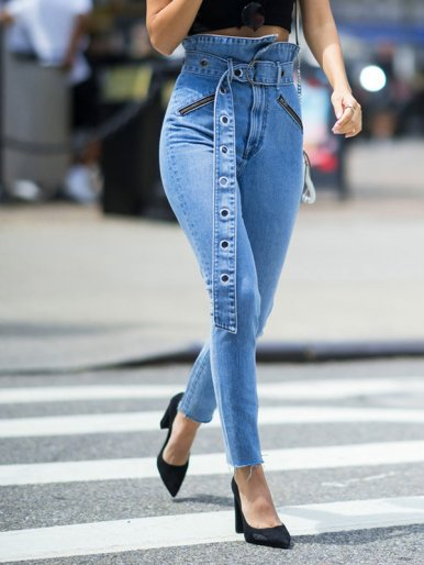 OneBling Raw Hem High Waist Pencil Jeans with Belt
