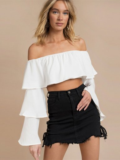 Tiered Flare Sleeve Off Shoulder Tops