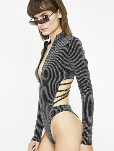 OneBling Zipper Front Glitter Stripe Bodysuit with Strappy Back