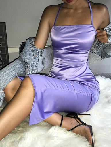 OneBling Cross Back Satin Pencil Dress
